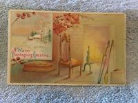 Vintage Postcard A Warm Thanksgiving Greeting, Fireplace Scene