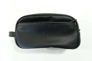 PERRY ELLIS BLACK FAUX LEATHER TOILETRY SHAVING PORTABLE TRAVEL KIT BAG NEW