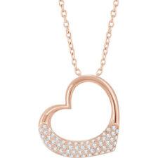 Diamante 40,6 -45 , 7cm Corazón Collar en 14k oro rosa (1/5 CT. TW