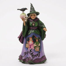 Jim Shore Halloween Trick or Treat Witch Holding Skull Stay For A Spell 4041137