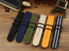 Sports Wristwatch Bands Woven Nylon Canvas Fabric Strap Replacement Belt 18-24mm