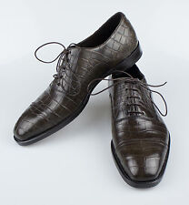New BRIONI Brown Crocodile Leather Oxfords Dress Shoes Size 9.5/42.5