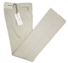 KITON Women's Solid Beige Handmade Stretch Cotton Jeans Pants 46 10 XL NWT $495!