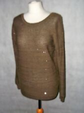 SANDRO PARIS unusual knit delicate ribbed jumper with sparkle size 3 UK 14
