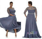 Plus Size Sheer Sleeves Beads Mother of the Bride Dress Wedding Evening Gowns