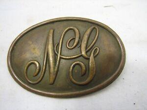 Antique Military National Guard Indian/Wars Era Brass Cartridge Box Pin Buckle