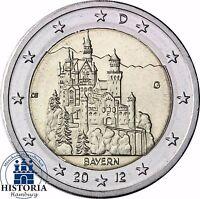 Schloß Neuschwanstein 2 Euro Deutschland 2012 bankfrisch Bundesland Bayern Mzz G