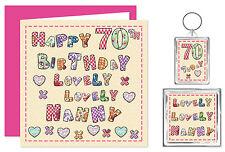70th Nanny Happy Birthday Gift Set - Card, Keyring & Magnet - Lovely You Present