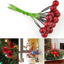 30pcs Mini Christmas Red Fruit Berry Holly Artificial Flower Pick Home Decor DIY