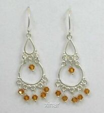 Sterling Silver Crystal Chandelier Dangle Earrings, Choice of Color