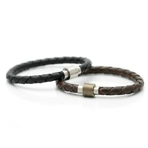 Braided Leather Bracelet Wristband with Brass Magnetic Clasp DK13