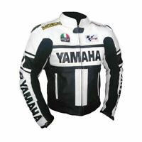 """Yamaha"" Motorbike Motorcycle Cowhide Leather Racing Jacket BLACK BLUE GREEN RED"
