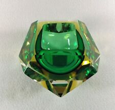 Flavio Poli Green & Amber Faceted Sommerso Murano Glass Bowl, Italy 1950s