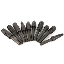 10Pcs Black Rotary File Rasp Carbide Burrs Set Wood Carving 1/4 Shank Drill Bit