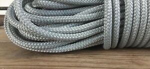 """5/16 """" x 100 ft. Double Braid-Yacht Braid Polyester rope. Light Gray"""