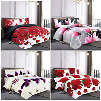 3D Duvet Quilt Cover & Pillowcase 3 Piece Polycotton Bedding Set Double & King