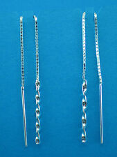 Sterling Silver 925 Pull Through Box Chain Twisted Threader Style Drop Earring