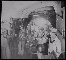 Glass Magic Lantern Slide SAILORS LOADING BATTLESHIP GUN C1910 ROYAL NAVY