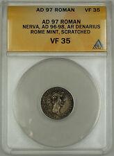 AD 97 Roman Denarius Coin Nerva Rome Mint ANACS VF-35 Details Scratched AKR