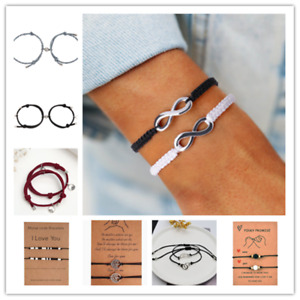 2x Fashion Jewelry Forever Love Infinity Lava Heart Couples Bracelets for Lovers
