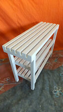 BANCO TABURETE de madera. Lacado en color BLANCO, 82 cms. de largo