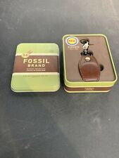 New Time Is Key Clip on FOSSIL Watch Fob Leather Snap Case Cover Keychain w/ Tin