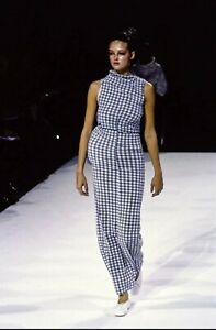 COMME des GARÇONS spring 1997 runway gingham grey dress Sz S made in Japan