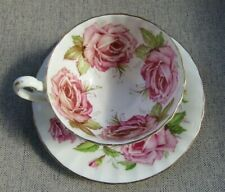 AYNSLEY Huge Cabbage Roses Mismatched Teacup and Saucer  AS IS READ DESCRIPTION