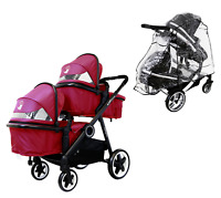 Baby Boy Girl Me to You Pram System & In Line Tandem Second Seat + Raincover New