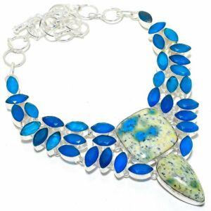"K2 Azurite, Sapphire Gemstone Silver Jewelry Necklace 18"" MQR-3224"