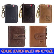 Mens Genuine Leather RFID Blocking Card Wallet Zip Car Key Case Cash Coin Pocket