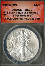 US Coin 2015-W Silver Eagle Dollar ANACS MS70 NO RESERVE!