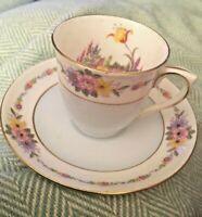 Vintage COLCLOUGH Demitasse Cup & Saucer Set Pattern 579 Baby Blue Flowers