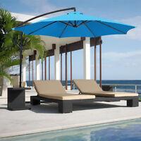 10ft Deluxe Outdoor Garden Pool Patio Umbrella Hanging Offset w/ Crank Tilt Blue