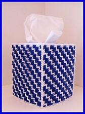 BLUE WHITE BABY NURSERY HANDMADE PLASTIC CANVAS TISSUE BOX COVER TOPPER
