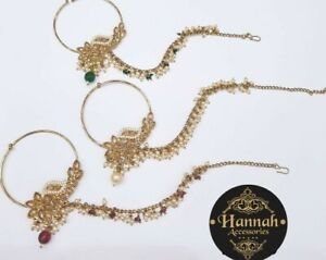 Bollywood Indian Bridal Nose Rings Nath American Diamond Stones  4 Colours