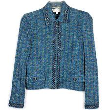 St John Collection Teal Green Blue Boucle Tweed Zipper Jacket Blazer, Size 8
