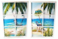 Extra Large 6 Pane Window Art Wooden Framed Tropical Beach Scene Wall Print