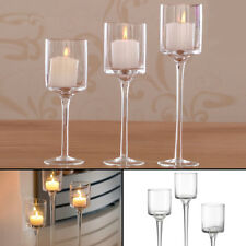 Set of 3 Elegant Tea Light Glass Candle Holders Wedding Table Centrepiece UK