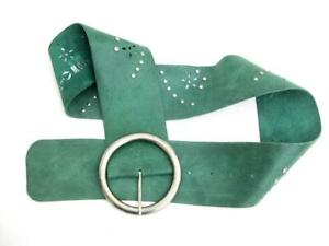 Leather belt   Green Curved Suede Soft   With studs and cut outs   3 inches wide