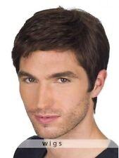 100% Real Hair!Men's Dark Brown Short Natural Straight Human Hair Wig Toupee
