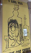 "Vintage 1970s Hallmark Poster ""I Like You,You've Got Spirit!"" Wine Humor 41""x19"""