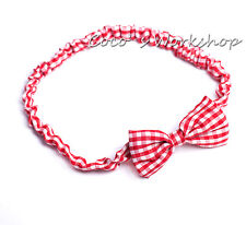 Fabric Elastic Bow Tie Hair Bands Headband Girls Womens