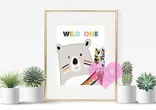 Wild one tribal bear print / new baby / nursery / kids room decor / wall art