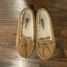 Women's minnetonka Leather Tan moccasins Slippers Size 7 Pile Lined