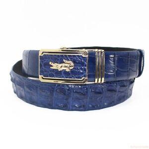 Blue Genuine Alligator Crocodile Leather Skin Men's Belt, W1.5'