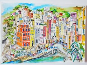 CINQUE-TERRE. Italy Wall Art. Liguria. Italian Riviera. Italy Watercolor Print.