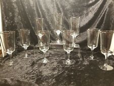 (9) Noritake Crystal  Glasses Iced Tea/Water Goblet Platinum Rim