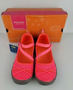 Sonoma Life Style Girls Size 5 Med Hot Pink Grey Hook Loop Breathable Shoes