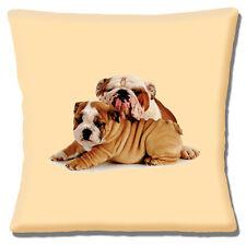 "English Bulldog Leaning on Cute Puppy 16""x16"" 40cm Cushion Cover Photo on Cream"